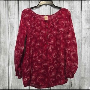 🌟EUC🌟 RED PAISLEY FADED GLORY PEASANT TOP